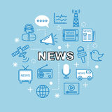 News minimal outline icons Stock Image