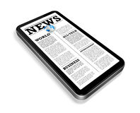 News on a mobile phone isolated on white Royalty Free Stock Image