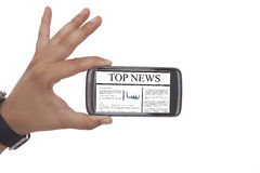 News On Mobile Phone Royalty Free Stock Photos