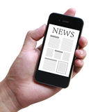 News On Mobile Smartphone. Hand holding mobile smart phone with news article on the screen Stock Photos