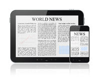 News On Modern Digital Devices. World news articles on modern digital tablet and mobile smart phone. Isolated on white Stock Photos