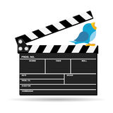 News from the movies. Bird twitting movie news on top of clapboard Stock Photo