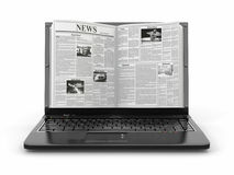 News. Newspaper as  laptop screen Stock Photo