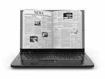 News. Newspaper as  laptop screen Stock Photo