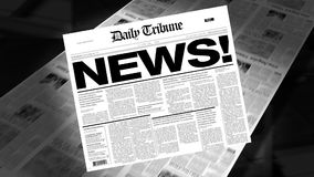 News! - Newspaper Headline (Reveal + Loops). Newspapers coming off the press. Cover page spins on. First 1 second is a blank loop. Then the newspaper spins on stock video