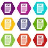 News Newspaper Icon Set Color Hexahedron Stock Photo