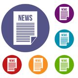 News newspaper icons set. In flat circle reb, blue and green color for web Stock Image