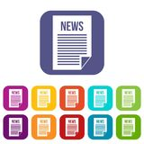 News newspaper icons set. Vector illustration in flat style in colors red, blue, green, and other Royalty Free Stock Photography