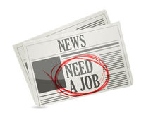 News. newspaper with a need a job sign. Stock Photos