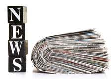 News and newspapers. Isolated on white background Royalty Free Stock Images