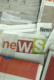 News on newspapers. Some newspapers arranged to display ` news stock photos
