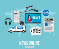 News online flat design concept with place for Stock Image