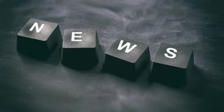 News online. Word news on keyboard keys on black background, banner, view from above. 3d illustration. News online concept. News written on keyboard keys on Stock Images
