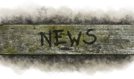 News. Painted word news on old wooden plank royalty free stock images