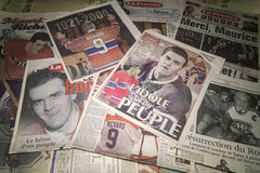 News Paper article. Commemorative News Paper articles of Maurice Rocket Richard famous hockey player, La Presse and Journal de Montreal Stock Photos
