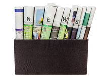 News paper in the box isolated Royalty Free Stock Photography