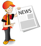 News paper boy. Messenger of newspapers, newsdealer  illustration Royalty Free Stock Photography