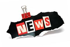 News in a paper clip Stock Photos