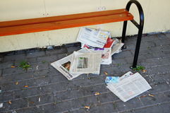 News paper on ground Stock Photography