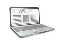 News paper on laptop screen Royalty Free Stock Images