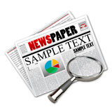 News paper with lens. Illustration of news paper with lens on white background Royalty Free Stock Photo