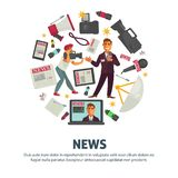 News people working in mass media field vector. Poster with text sample. Reporter with microphone talking about events, cameraman with camera, newspapers and royalty free illustration