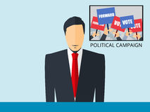 News of the political campaign. Anchorman sitting at the desk. Breaking news, studio reporter. The news announcer. Vector Stock Photography