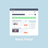 News Portal Wireframe. News portal website wireframe interface template. Flat vector illustration on blue background Stock Photos
