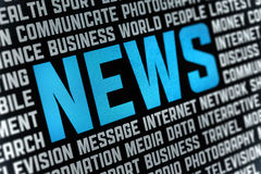 News Poster. Digital poster with News headline and keywords on news theme. Selective focus on headline text Royalty Free Stock Photography