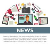 News poster flat vector design of TV reporter and journalist profession working items. News poster flat vector design of TV anchorman broadcast reporter or Royalty Free Stock Photography