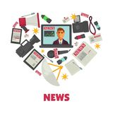 Media news and journalism vector poster Stock Photography