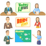 News presenter concept set, cartoon style Stock Photo