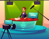 News presenter in television studio cartoon vector. Anchorwoman in television chanel studio cartoon vector. Female presenter sitting at desk during broadcast vector illustration