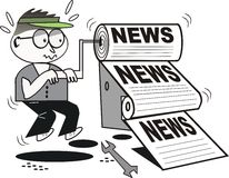 News printer cartoon Royalty Free Stock Photo
