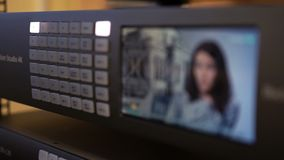 News. Professional equipment for broadcasting. TV studio stock footage