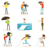 News Program Crew Of Professional Cameramen And Journalists Creating TV Broadcast Of Live Television Set Of Cartoon. Characters. People Working In TV Production Stock Photo