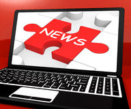 News Puzzle On Notebook Showing Digital Newspapers Royalty Free Stock Images