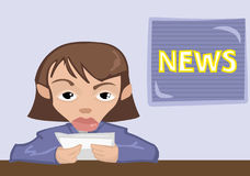 News reader. A news reader, anchor or presenter royalty free illustration