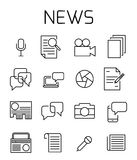 News related vector icon set. Well-crafted sign in thin line style with editable stroke. Vector symbols isolated on a white background. Simple pictograms Stock Image
