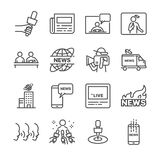 News related vector line icon set. Contains such icons as news, newspaper, reporter, social media live and more. Stock Photo