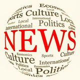 News related words arrangement in spherical form. News, information and media related text arrangement (word cloud) with spherical form and the word NEWS in red royalty free stock images