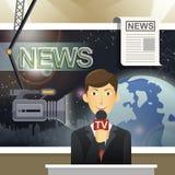 News release scene in flat design Royalty Free Stock Photo
