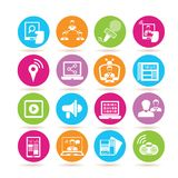 News report icons. Collection of 16 news report icons in colorful buttons Stock Image