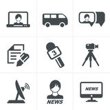 News reporter icons set. Stock Images