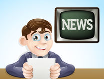News reporter. An illustration of a studio television news reporter holding paper at desk Royalty Free Stock Photography