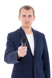 News reporter journalist interviews a person holding up the micr. Ophone isolated on white background Stock Images