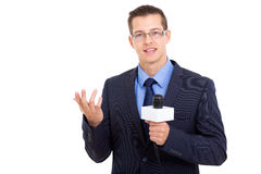 News reporter live broadcasting Stock Photography