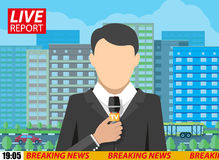 News reporter men with microphone on street Stock Photos