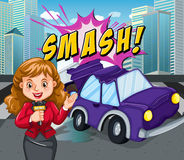 News reporter reporting car accident. Illustration Royalty Free Stock Image