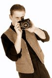 News reporter, retro style Stock Photo